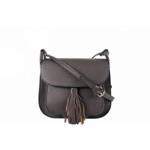 Carolina , Leather Cross Body Bag with Tassle Detail , Dark Brown Image