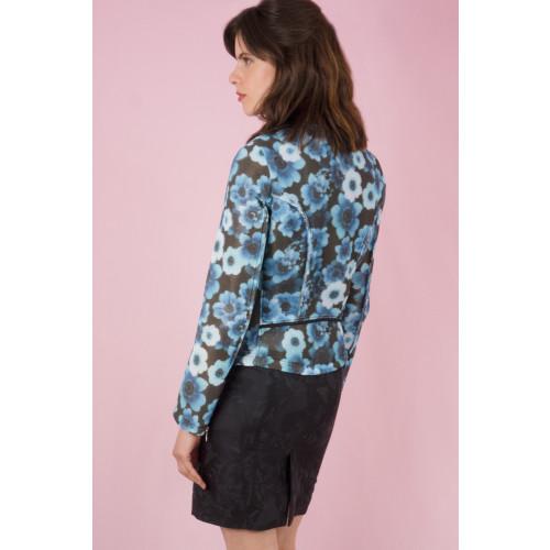 Floral print mesh biker jacket Image