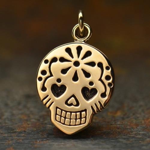 Bronze Mexican Sugar Skull Charm Pendant Image