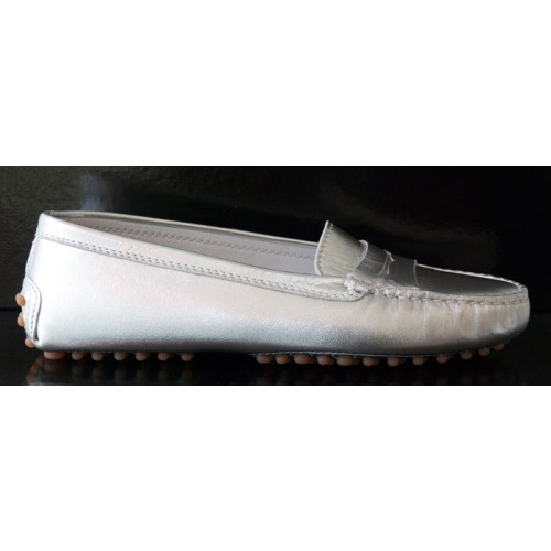 Silver Leather Driving Shoe Image