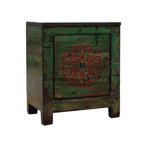 Small Green Chinese Cabinet - Endless Knot - Left Side Hinge Image
