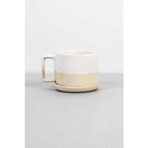 Barbara Mug with Saucer: White & Sand Image