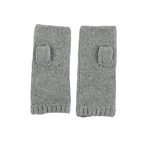 Cashmere Blend Fingerless Gloves in Grey Image