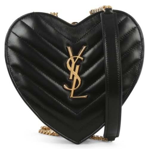 SAINT LAURENT LOVE HEART BLACK LEATHER SHOULDER BAG Image