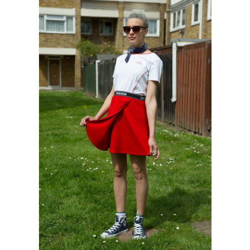 90s Style Red Sports Wrap Mini Skirt Image
