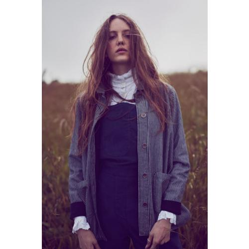 Cotton Work Wear Jacket in Pinstripe Cotton by Lowie Image