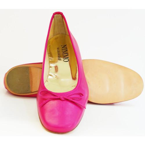 Fuschia Square Toe  leather Ballerina Image