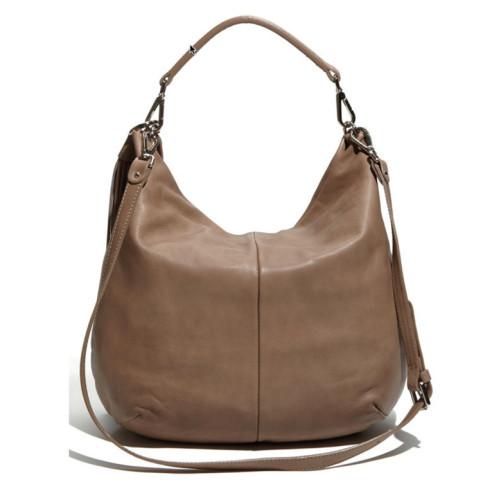 Beige Leather Hobo  Shoulder Bag Image