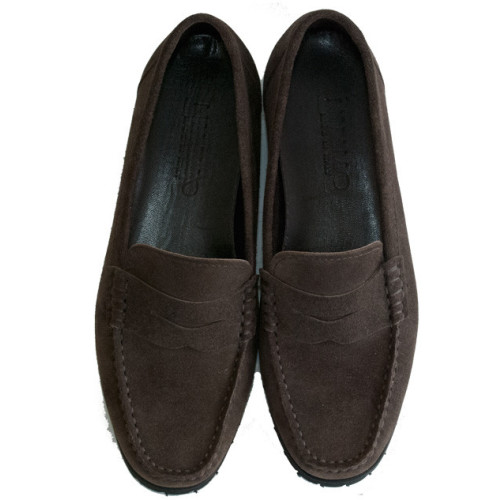 Brown Suede Platform Moccasin with Rounded Toe and Vibram Sole Image