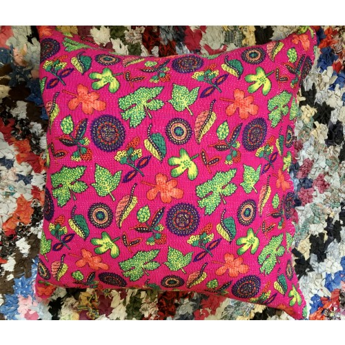 PAKISTANI VINTAGE KANTHA STITCHED CUSHION Image