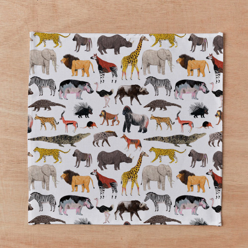 African Animals Handkerchief and Pocketsquare Cha Com Letras Image