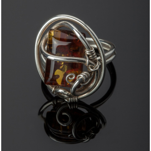 Silver Amber Ring Image