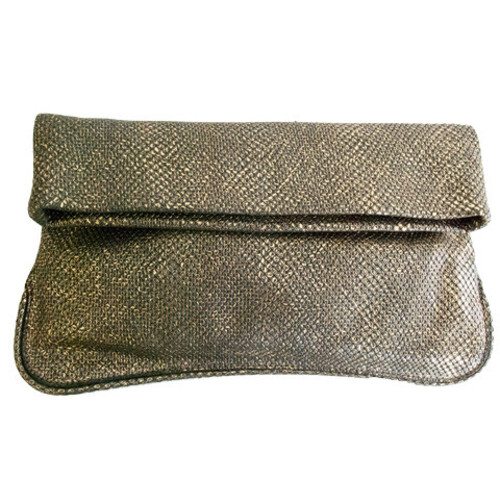 Gold Shimmer Leather Clutch Image