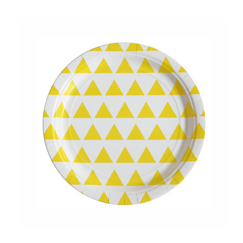 Pack of 8 paper plates - yellow triangles Image