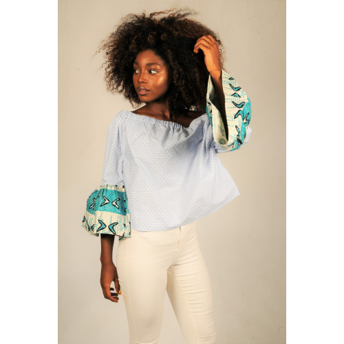 Chambray Stripe Off Shoulder Top with Bogolan Print Sleeves Image