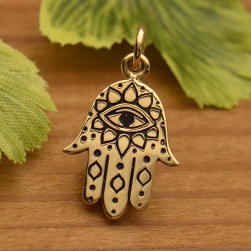 Bronze Hamsa hand charm with Evil Eye Image