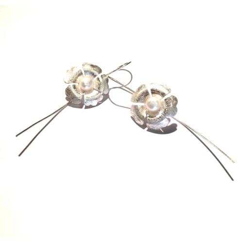 Sterling Silver & Freshwater Pearl Clover Drop Earrings Image