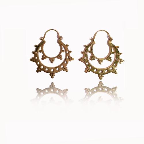 Brass Hoop Earrings with multiple Dots Image