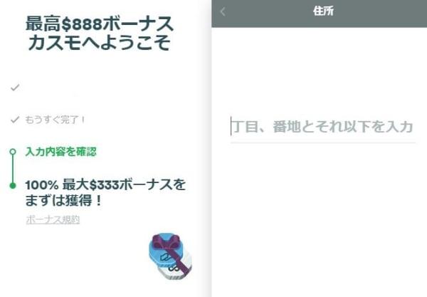 カスモの登録画面