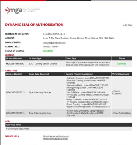 マルタ政府のマルタ ゲーミングオーソリティー(Malta Gaming Authority)のライセンス