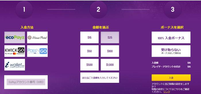 ラッキーカジノの入金画面