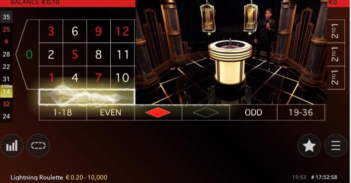 「クラシック型」のライブカジノプレイ画面
