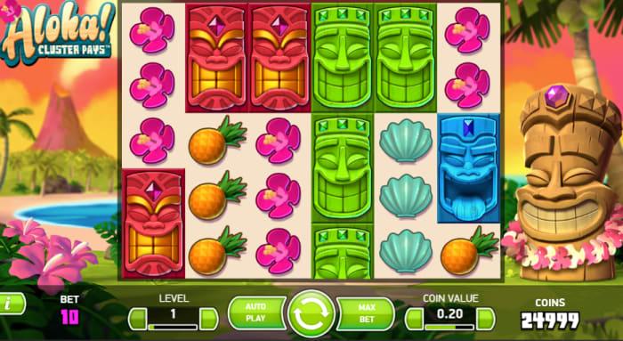 「アロハクラスターペイズ(Aloha Cluster Pays)」のプレイ画面