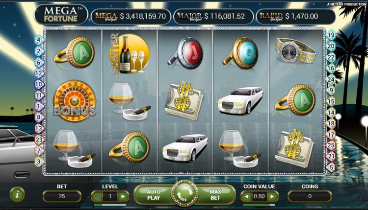 メガ・フォーチュン(Mega Fortune)のプレイ画面