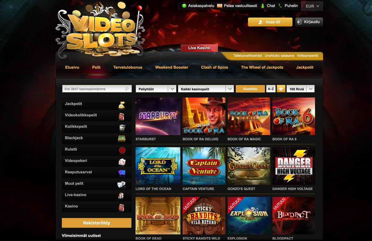 videoslots-casino-pelit