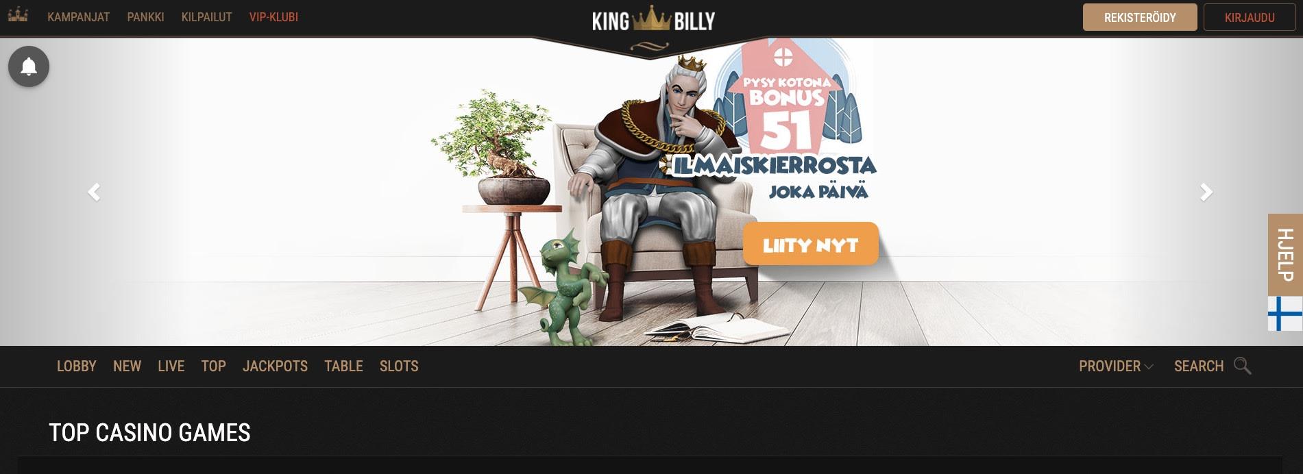 King Billy Casino etusivu