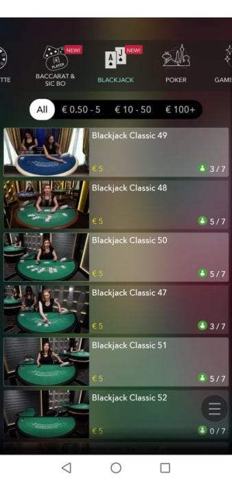 ライブカジノのテーブル選択画面(モバイル版)