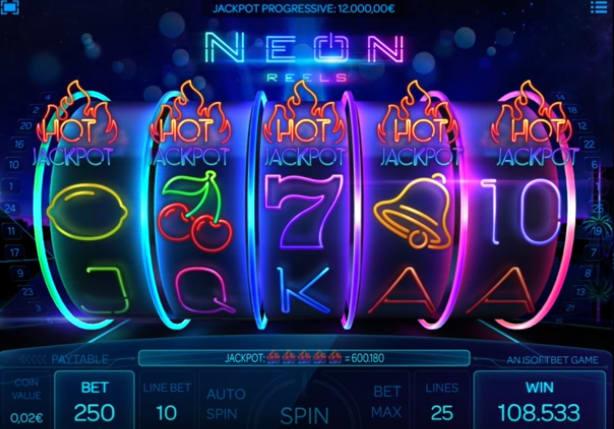 ビットスターズカジノのジャックポットゲーム「NEON REELS」