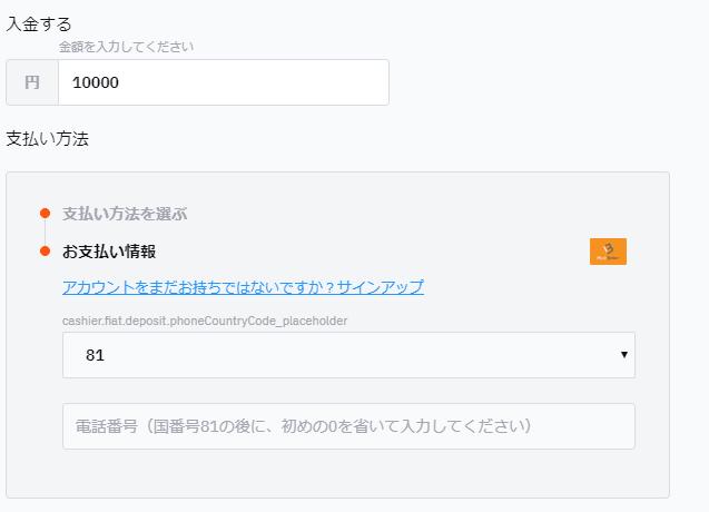 ビットカジノでの入金画面(マッチベター)