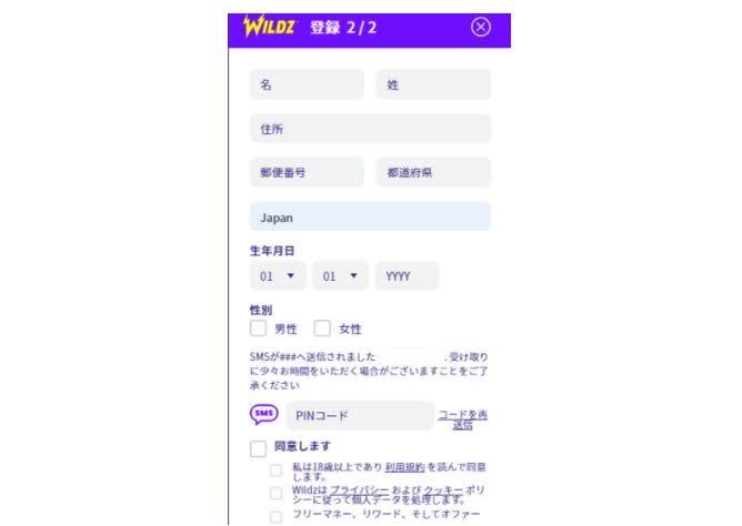 ワイルズカジノの登録画面