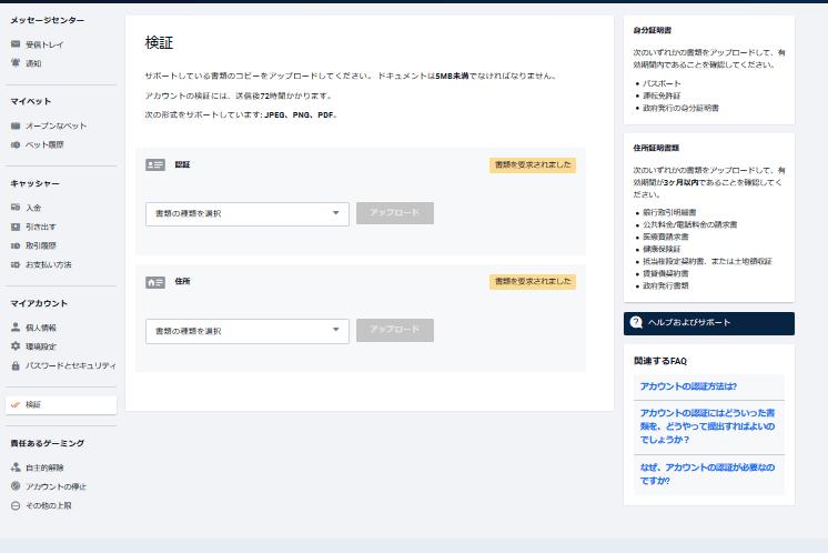 ピナクルカジノのアカウント認証ページ