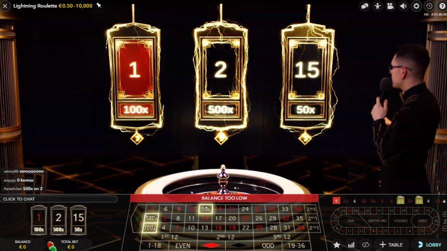カシュミオのライブカジノ「ライトニング ルーレット(Lightning Roulette)」