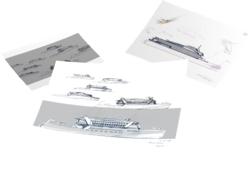 First drafts of the ship's overall shape