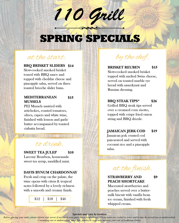 110 Grill May Specials Menu