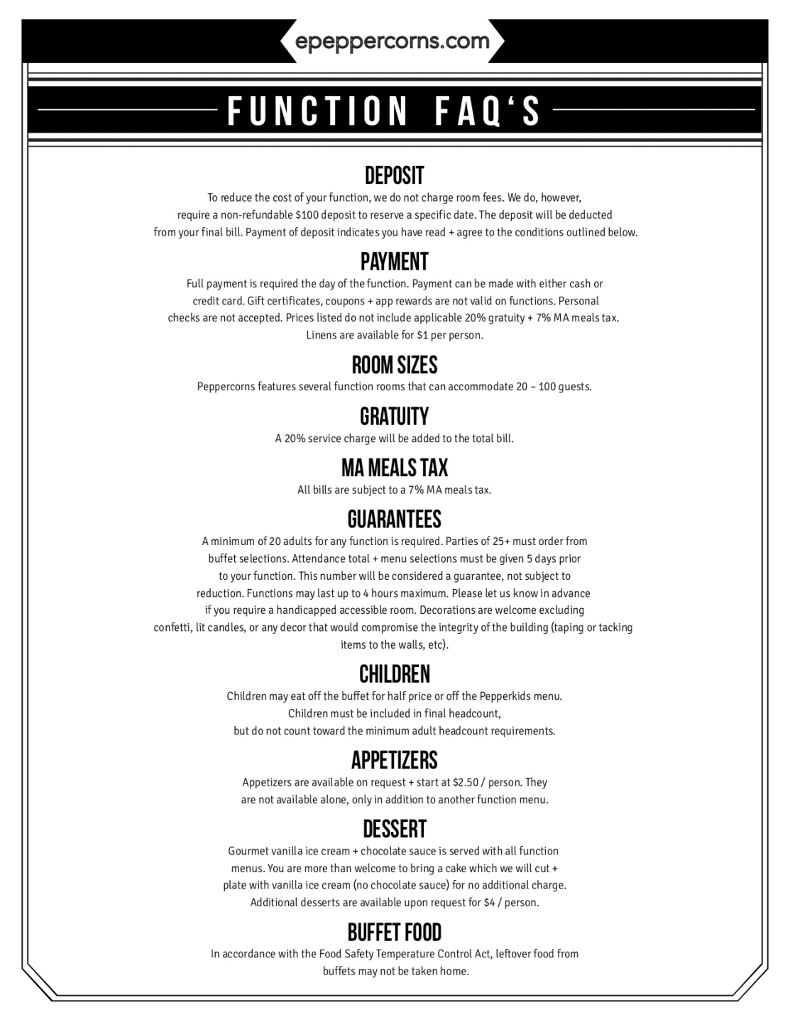 downloadable menu - function faqs