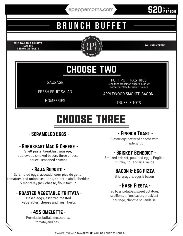 downloadable menu - brunch buffet