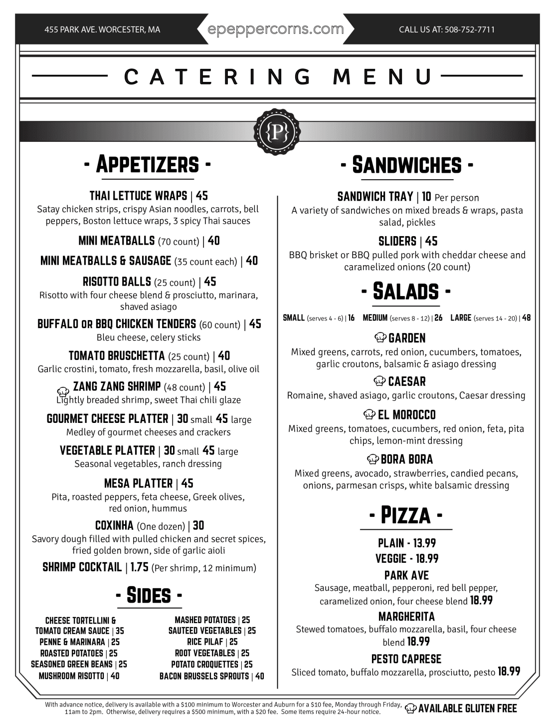 Catering menu page 1 for download