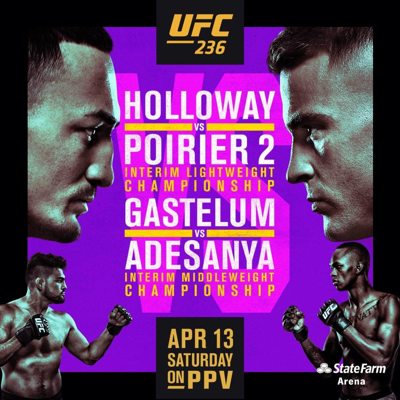 holloway vs poirier fight april 13th - saturday
