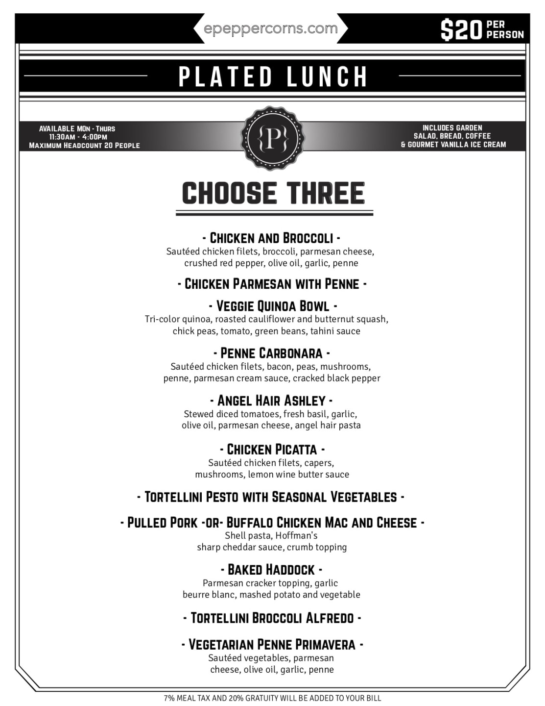 downloadable menu - plated lunch