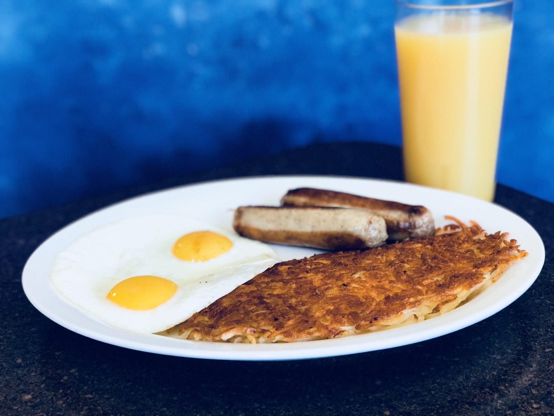 Bacon, Sausage Links Or Sausage Patty and Eggs