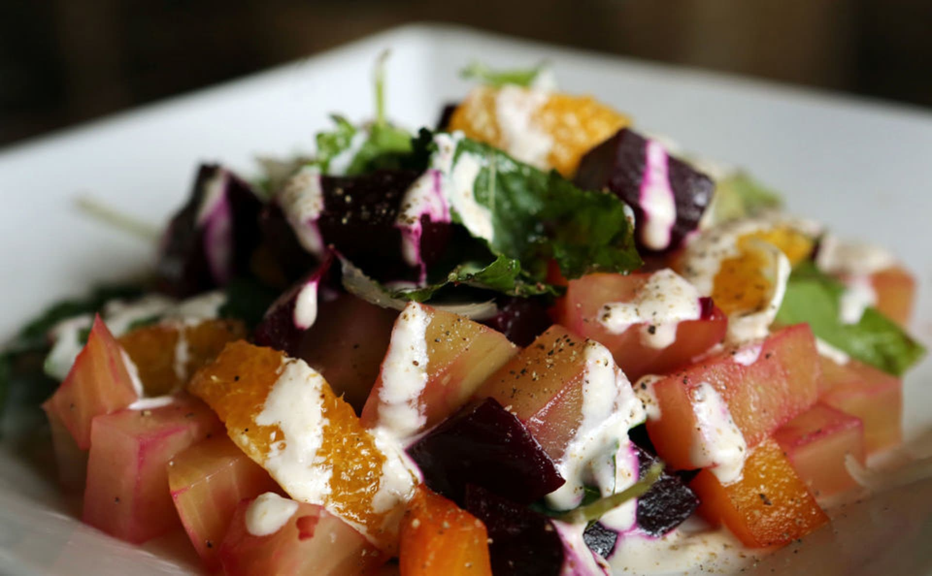fresh red and golden beet salad