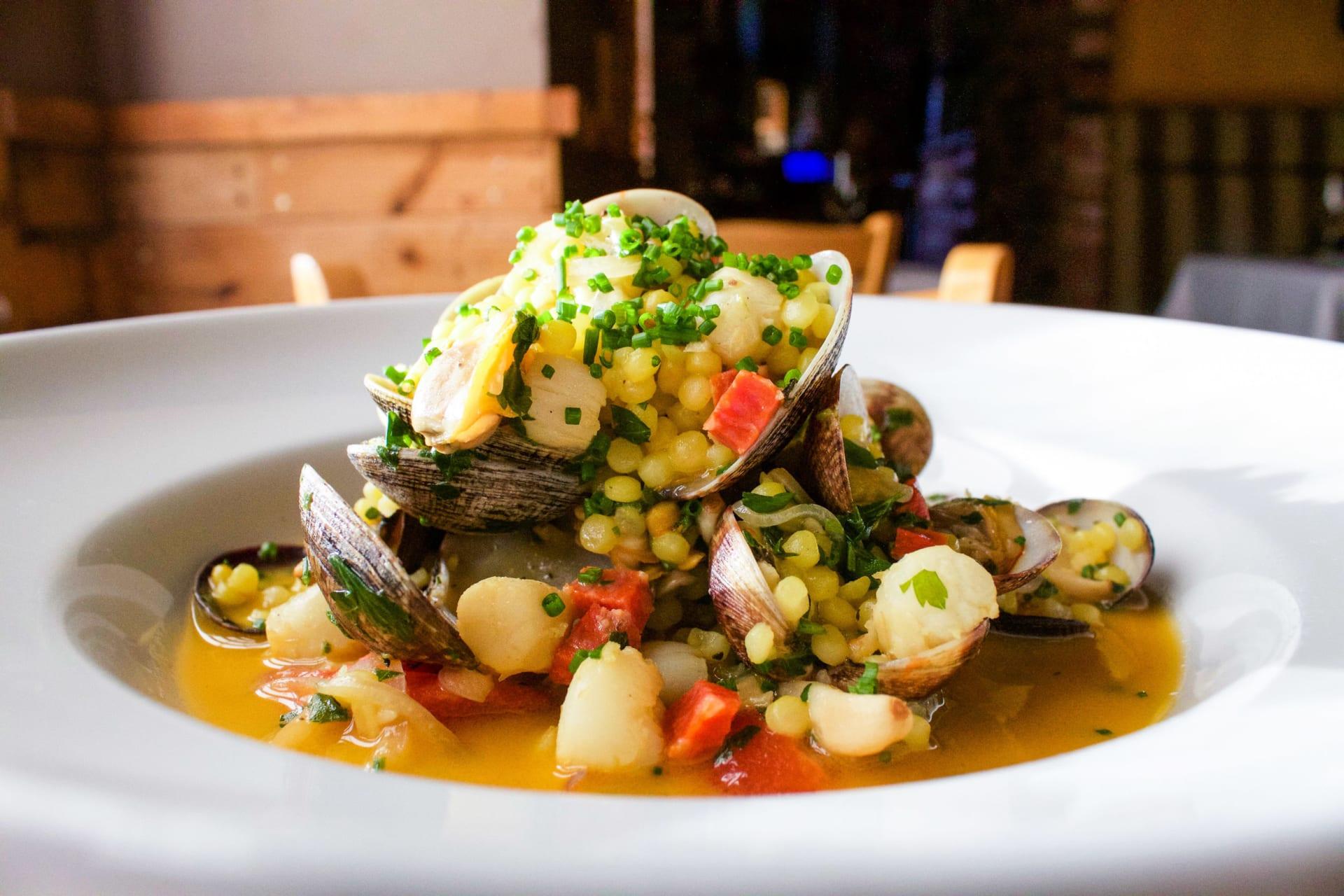 extreme close up of a seasonal seafood and corn dish