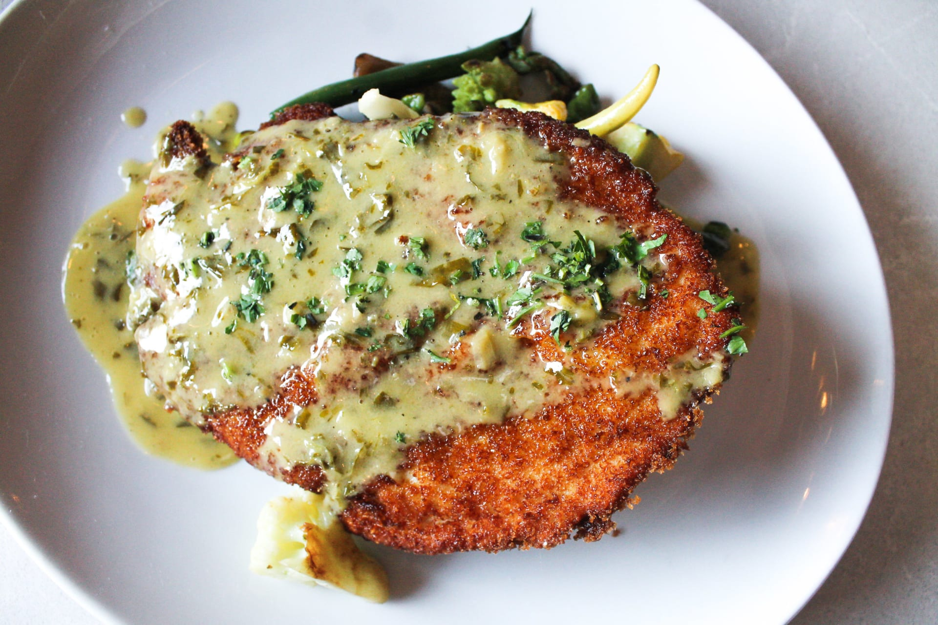 Crispy Jidori Chicken Schnitzel With Wild Mushrooms