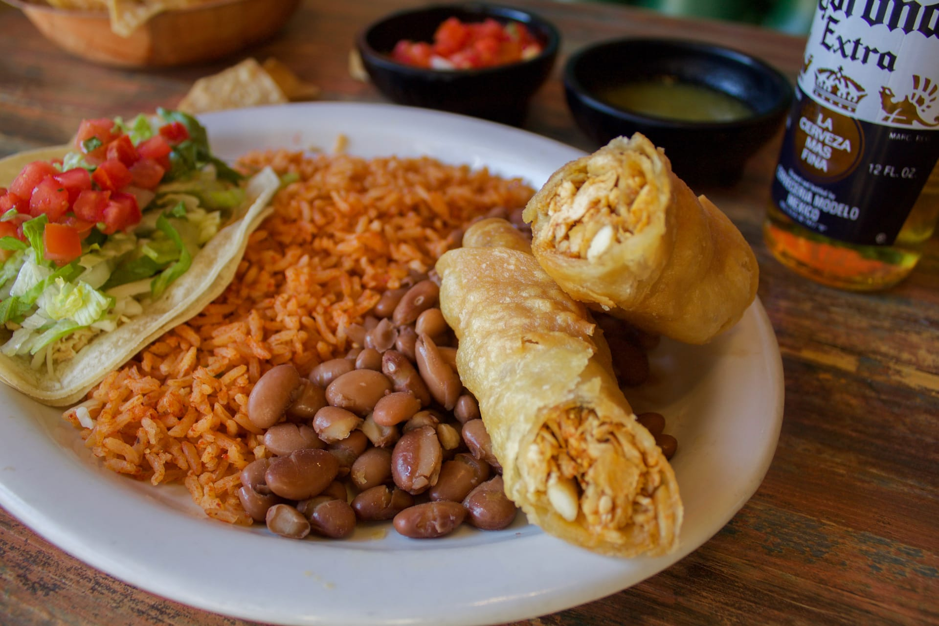 taquitos and rice and beans