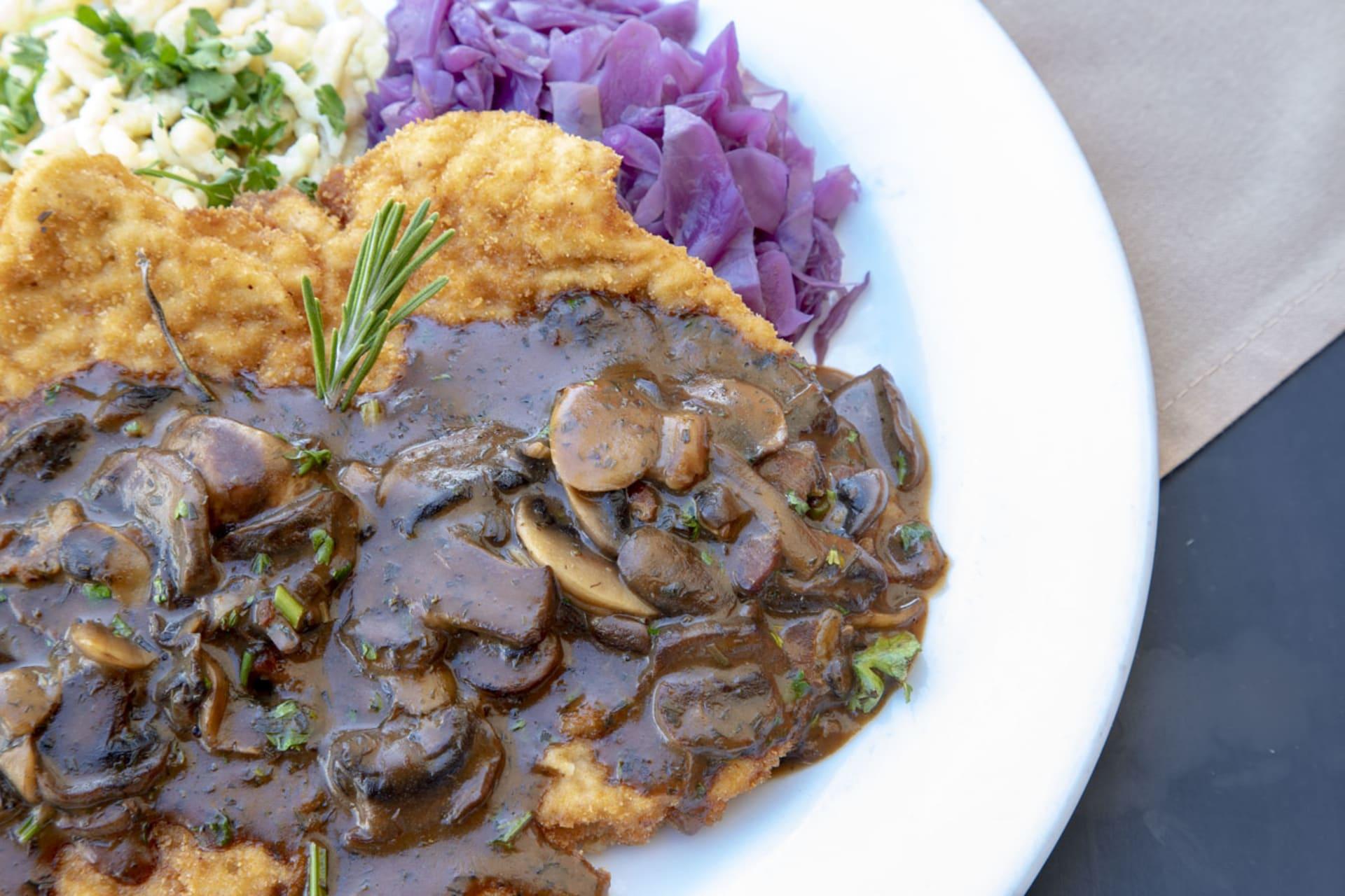 dish with mushroom sauce