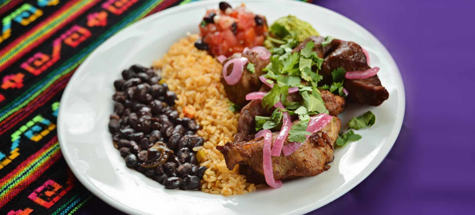 plate of food with rice and beans